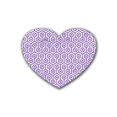 Hexagon1 White Marble & Purple Denim (r) Heart Coaster (4 Pack)