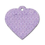 HEXAGON1 WHITE MARBLE & PURPLE DENIM (R) Dog Tag Heart (One Side) Front