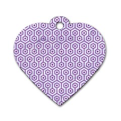 Hexagon1 White Marble & Purple Denim (r) Dog Tag Heart (two Sides) by trendistuff