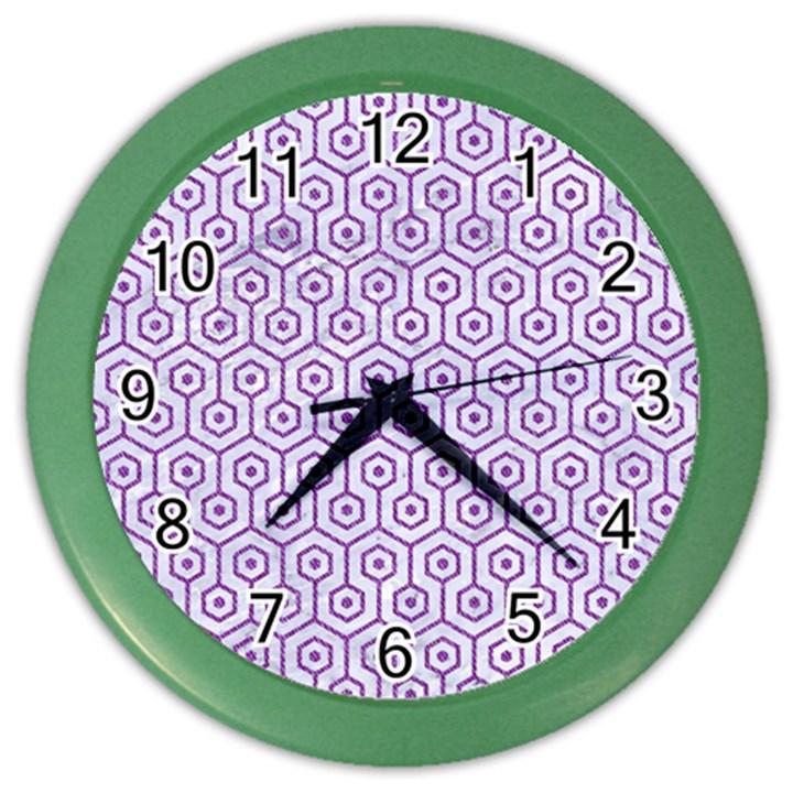 HEXAGON1 WHITE MARBLE & PURPLE DENIM (R) Color Wall Clocks