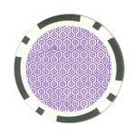 HEXAGON1 WHITE MARBLE & PURPLE DENIM (R) Poker Chip Card Guard Front