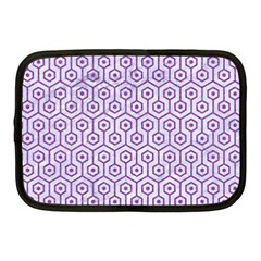Hexagon1 White Marble & Purple Denim (r) Netbook Case (medium)