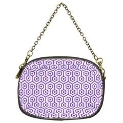 Hexagon1 White Marble & Purple Denim (r) Chain Purses (two Sides)
