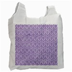 HEXAGON1 WHITE MARBLE & PURPLE DENIM (R) Recycle Bag (One Side) Front