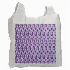 Hexagon1 White Marble & Purple Denim (r) Recycle Bag (two Side)