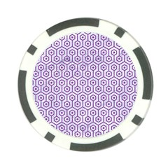 Hexagon1 White Marble & Purple Denim (r) Poker Chip Card Guard (10 Pack) by trendistuff