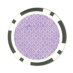 HEXAGON1 WHITE MARBLE & PURPLE DENIM (R) Poker Chip Card Guard (10 pack)