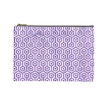 HEXAGON1 WHITE MARBLE & PURPLE DENIM (R) Cosmetic Bag (Large)  Front