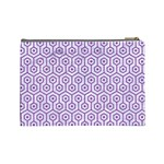 HEXAGON1 WHITE MARBLE & PURPLE DENIM (R) Cosmetic Bag (Large)  Back