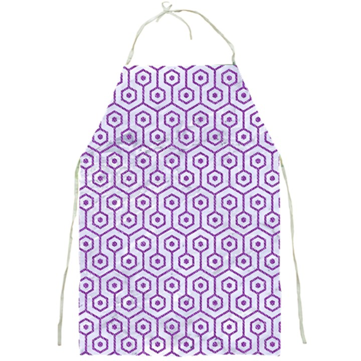 HEXAGON1 WHITE MARBLE & PURPLE DENIM (R) Full Print Aprons