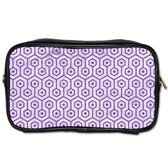 Hexagon1 White Marble & Purple Denim (r) Toiletries Bags 2 Side by trendistuff