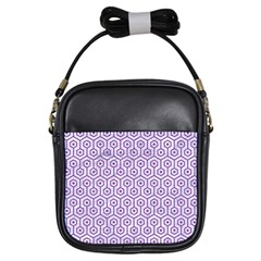 Hexagon1 White Marble & Purple Denim (r) Girls Sling Bags