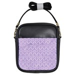HEXAGON1 WHITE MARBLE & PURPLE DENIM (R) Girls Sling Bags Front