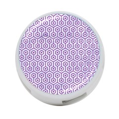 Hexagon1 White Marble & Purple Denim (r) 4 Port Usb Hub (one Side)