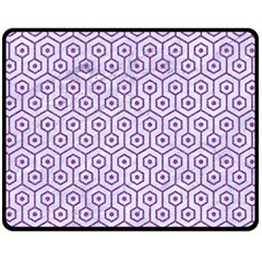 Hexagon1 White Marble & Purple Denim (r) Fleece Blanket (medium)