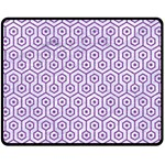 HEXAGON1 WHITE MARBLE & PURPLE DENIM (R) Fleece Blanket (Medium)  60 x50 Blanket Front