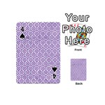 HEXAGON1 WHITE MARBLE & PURPLE DENIM (R) Playing Cards 54 (Mini)  Front - Spade4