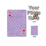 HEXAGON1 WHITE MARBLE & PURPLE DENIM (R) Playing Cards 54 (Mini)  Front - Heart9