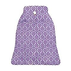 Hexagon1 White Marble & Purple Denim (r) Ornament (bell)
