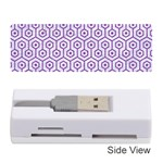 HEXAGON1 WHITE MARBLE & PURPLE DENIM (R) Memory Card Reader (Stick)  Front