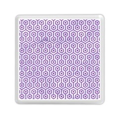 Hexagon1 White Marble & Purple Denim (r) Memory Card Reader (square)  by trendistuff
