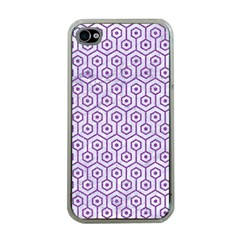 Hexagon1 White Marble & Purple Denim (r) Apple Iphone 4 Case (clear)