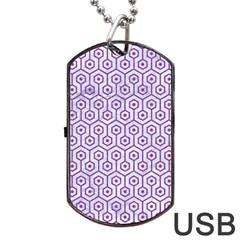HEXAGON1 WHITE MARBLE & PURPLE DENIM (R) Dog Tag USB Flash (One Side)