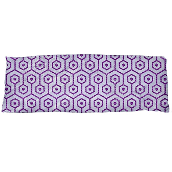 HEXAGON1 WHITE MARBLE & PURPLE DENIM (R) Body Pillow Case Dakimakura (Two Sides)