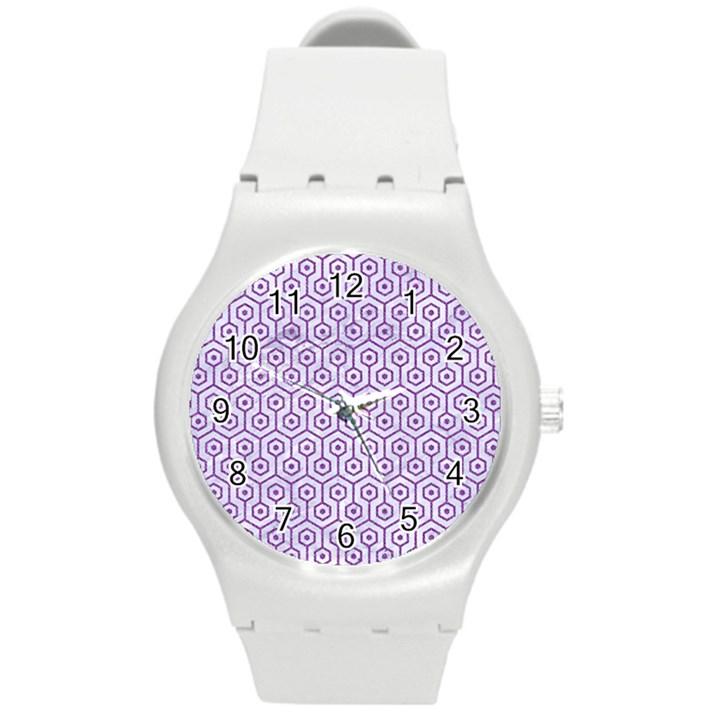 HEXAGON1 WHITE MARBLE & PURPLE DENIM (R) Round Plastic Sport Watch (M)