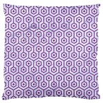 HEXAGON1 WHITE MARBLE & PURPLE DENIM (R) Large Cushion Case (One Side) Front