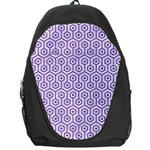 HEXAGON1 WHITE MARBLE & PURPLE DENIM (R) Backpack Bag Front