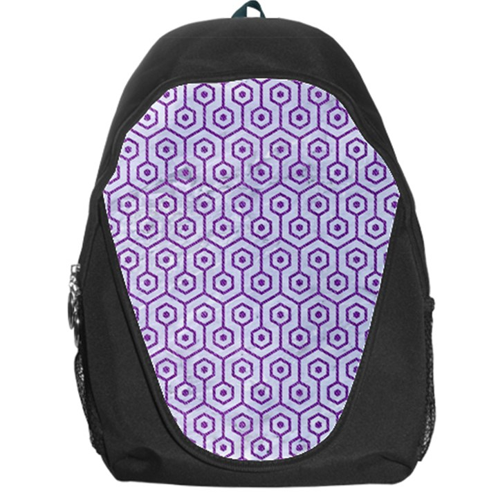 HEXAGON1 WHITE MARBLE & PURPLE DENIM (R) Backpack Bag