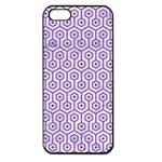 HEXAGON1 WHITE MARBLE & PURPLE DENIM (R) Apple iPhone 5 Seamless Case (Black) Front