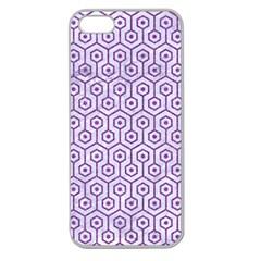 HEXAGON1 WHITE MARBLE & PURPLE DENIM (R) Apple Seamless iPhone 5 Case (Clear)