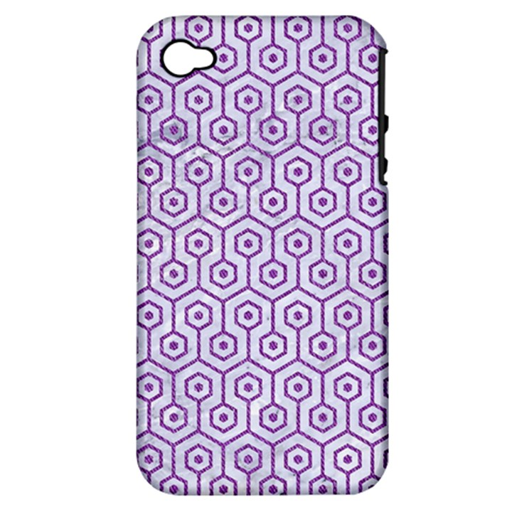 HEXAGON1 WHITE MARBLE & PURPLE DENIM (R) Apple iPhone 4/4S Hardshell Case (PC+Silicone)