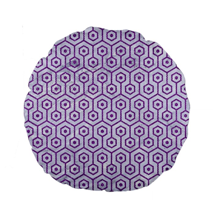 HEXAGON1 WHITE MARBLE & PURPLE DENIM (R) Standard 15  Premium Round Cushions