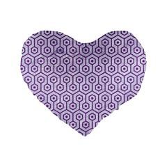 HEXAGON1 WHITE MARBLE & PURPLE DENIM (R) Standard 16  Premium Heart Shape Cushions