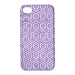 Hexagon1 White Marble & Purple Denim (r) Apple Iphone 4/4s Hardshell Case With Stand