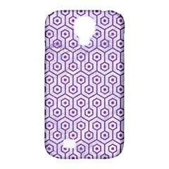 Hexagon1 White Marble & Purple Denim (r) Samsung Galaxy S4 Classic Hardshell Case (pc+silicone)