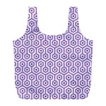 HEXAGON1 WHITE MARBLE & PURPLE DENIM (R) Full Print Recycle Bags (L)  Front
