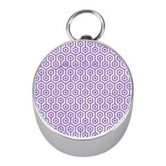 Hexagon1 White Marble & Purple Denim (r) Mini Silver Compasses