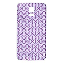 Hexagon1 White Marble & Purple Denim (r) Samsung Galaxy S5 Back Case (white)