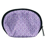 HEXAGON1 WHITE MARBLE & PURPLE DENIM (R) Accessory Pouches (Medium)  Back