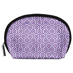 Hexagon1 White Marble & Purple Denim (r) Accessory Pouches (large)