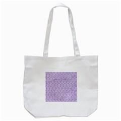 Hexagon1 White Marble & Purple Denim (r) Tote Bag (white)
