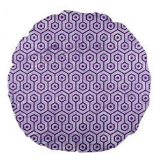 Hexagon1 White Marble & Purple Denim (r) Large 18  Premium Flano Round Cushions