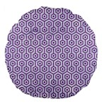 HEXAGON1 WHITE MARBLE & PURPLE DENIM (R) Large 18  Premium Flano Round Cushions Back