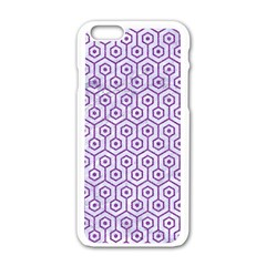 Hexagon1 White Marble & Purple Denim (r) Apple Iphone 6/6s White Enamel Case