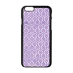 Hexagon1 White Marble & Purple Denim (r) Apple Iphone 6/6s Black Enamel Case