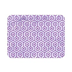 Hexagon1 White Marble & Purple Denim (r) Double Sided Flano Blanket (mini)  by trendistuff